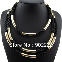 2013 New Arrival Fashion Handmade gold chain black string collar women necklace gift