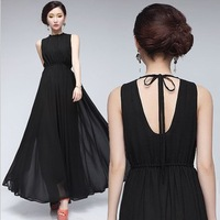 Sexy ladies plus size big swing dress in Europe style evening dress women hole back chiffon long dress