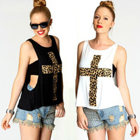fashion women t shirt 2013 sexy o neck t shirt women new two-pieces leopard cross cotton vest