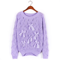 2013 lady long sleeve sweater Hot sale 5color Autumn New pullover Layers Hollow out pearl bowknot pullover sweater Women