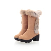 Fashion women winter snow boots 2013 trophonema brief elegant all-match medium-leg boots rabbit fur plus size 43