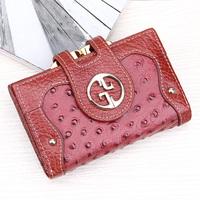 Free Shipping Genuine leather vintage lace card holder hasp small change folder short design lockbutton women's cowhide wallet