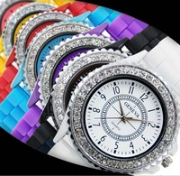 Wholesale 2014 New Fashion Brand Rhinestone Geneva Quartz Dress Watches Silicone Wristwatches Sports Watch for Women Lady White