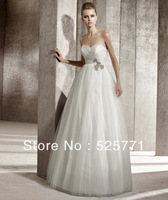 New Elegant Empire Sweetheart Beaded White/Ivory Wedding Dresses Bridal Gown Custom Size High Quality