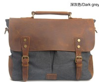 The new European and American retro canvas bag with leather messenger bags shoulder messenger bag laptop computer bag briefcase