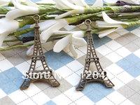 Free shipping 50 pcs Eiffel Tower Charms Antique Bronze Filigree Eiffel Tower Paris Charm Pendants Size: 45X25mm
