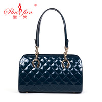 Free shipping 2013 fashion vintage plaid fashionable casual women's japanned leather bag handbag cowhide shoulder bag