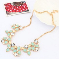 Gift! New Arrival Women Fashion Blue Crystal Resin Beads Golden Chain Statement Necklace Wholesale Free Shipping#101593