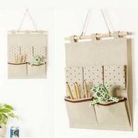 Free shipping Japanese cute little dots Bag Storage Bag Cotton Bag debris storage 2pcs/lot