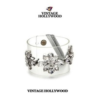 2pcs/lot Vintage hollywood designer love crystal flower PVC transparent film bangle fashion bracelet x59