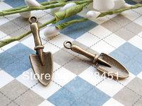 Free shipping 100 pcs 10x30mm Antique Bronze shovel Pendants Charms