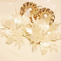 Korean style vintage elegant fairy white flowers stud earrings x62