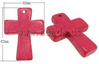 Free shipping!!!Turquoise Pendant,fantasies for womens, Dyed Turquoise, Cross, red, 32x42x7mm, Hole:Approx 2mm, 20PCs/Lot