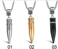 Male three-color solid titanium bullet pendant Men necklace male necklace pendant  1 pieces