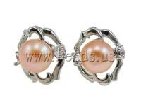 Free shipping!!!Freshwater Pearl Earrings,Tibet Jewelry, Cultured Freshwater Pearl, with Rhinestone & Brass, Flower, natural
