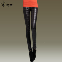 2013 plus size female down pants slim skinny pants plus velvet trousers female trousers