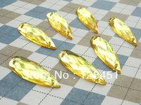 free shipping 100pcs of 11x30mm yellow teardrop crylic Crystal Cabochon,End of teardrop optical.teardrop diamond