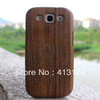 Hot Sale 1 piece Dragon wood case cover (black walnut) + 1piece film screen protector = 2pieces/lot for samsung i9300/S3