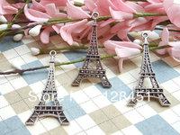 Free shipping  50pcs 45X25mm Eiffel Tower Charms Antique silver Filigree Eiffel Tower Paris Charm Pendants