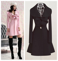 2013 Autumn Winter Women's Lovely Princess Style Warm Wool Coat Women's Outwear Plus Size Free shipping 5121