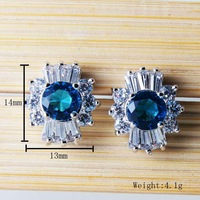 111 Wholesale Color Cubic Zircon Stud Earrings Fashion 2013 sapphire earrings For Women Gold Plated  Bijoux