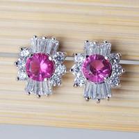 Wholesale  Cubic Zircon Stud Earrings Fashion 2014 Rose Color earrings For Women Gold Plated Bijoux 1220-2