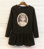 2013 autumn and winter sweet solid color little girl beading zipper decoration ruffle dress one-piece dress female