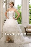 2014 New vestido de novia Bride Princess Short Front Long Back Hi-lo Wedding Dress With Crystal Custom Made Free shipping