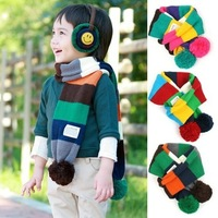 new winter knitting baby scarf children's Scarves/boy's&girl's scarf 3 colors striped warm shawl neckerchief/free shipping/AOs