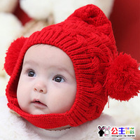 2944 princess child cap twisted double ball hat winter ear protector cap lovely beanie