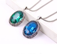 Min.order is $15 (mix order)Free Shipping Shiny Luxury Vintage Alloy Emerald and Navy Blue Oval Crystal Gem Pendant Necklace#791