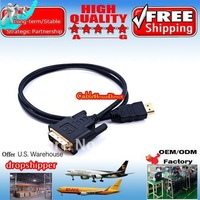 1000pcs 3FT Gold HDMI Male to DVI Male Cable for HD PC LCD TV HDTV DVD Cheapest Price Only for USA and Canada