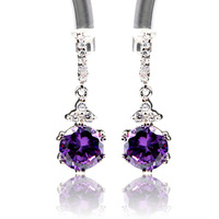 High Quality Cubic Zircon Clip Dangle Earrings Fashion 2013 Free Shipping Innovative Items Amethyst Drop Earrings 8 Colors