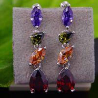 Wedding Jewelry Designer Earrings ,Multi Color Crystal Earrings For Women Luxury Zirconia Drop Earrings For Dinner E1092-1