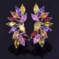 Luxury Multicolored Party Earrings Crystal 2014 New Fashion Bohemia Stud Earrings For Women Wedding Jewelry Earrings Wholesale