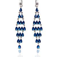 Fashion Exaggerated Cubic Zircon Drop Earrings 18K White Gold Plated Long Blue Sapphire Earrings Party Dangle Teardrop Earrings