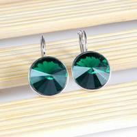 Wholesale Austrian Crystal Green Emerald Dangle Earrings18K White Gold Plated SWA Elements Round Zircon Clip Earrings For Women