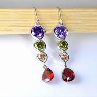 Wholesale 7 Colors Fashion Brilliant CZ Crystal Earrings For Women Dangle Drop Earrings Rhodium Plated  Grade Cubic Zircon