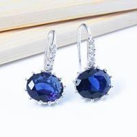 Wholesale Womens Blue Sapphire Earrings Fashion 2014 Ear Cuff Jewelry Nickel Free Cubic Zirconia Crystal Discount Earrings
