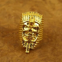 High Quality Vintage 18K Gold-plated Egypt Pharaoh Skull Head Cool Medusa Rings For Men Free Shipping