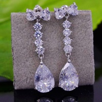 2013 Fashion Zircon Jewelry Earrings For Women Crystal Teardrop Pendant Earrings With Zirconia Crystal Plated Rhodium Clear
