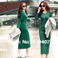 6682014 New 's zipper-up long-sleeve slim hip one-piece dress jackets women xxxl women's dresses with long sleeves Free shipping