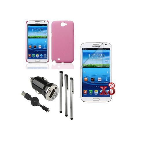 V9 Hard Case+USB Cable+Charger+LCD+Pen For Samsung GALAXY Note 2 II I605 I317 T889(China (Mainland))