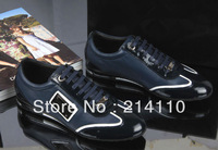Free Shipping 2014 Men's Flat Shoes Fashion Casual Breathable Genuine Leather Sneakers Brand Single Shoes Black Blue Size 38-44