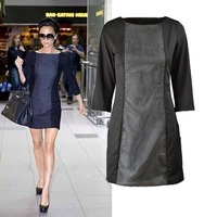 Free shipping Womens Boatneck Hollow Out Net 3/4 Sleeve Zipper Side Contrast Slim Dress D5561