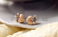 Free shipping!!!Zinc Alloy Stud Earring,Cheap Jewelry Wholesale, with Glass Pearl & Acrylic, Heart, gold color plated