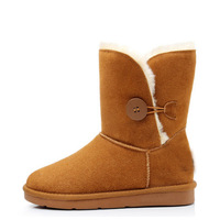 2013 winter genuine leather snow boots female boots medium-leg slip-resistant nubuck leather boots cold thermal cotton-padded
