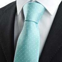 Free shipping New White Dot Mint Blue JACQUARD WOVEN Men's Tie Necktie