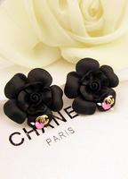 fine jewelry New arrival 483t y letter c black rose stud earring female earrings 010  Two Pair