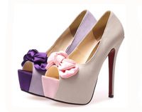 Free Shipping 2014 New Bow Fish Head Stiletto Shoes lovely lady High Heel Thin Sexy Pumps #Z0091
